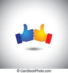 pojęcie, podobny, ludzie, zwycięstwo, -, do góry, dwa, wektor, kciuki, albo