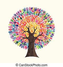 pojęcie, pomoc, barwny, drzewo, ręka, towarzyski, druk