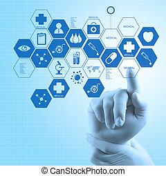 pojęcie, pracujący, doktor, medyczny, nowoczesny, ręka, medycyna, komputer, interfejs