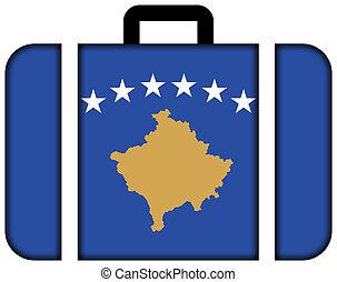 pojęcie, przewóz, podróż, bandera, walizka, ikona, kosovo.