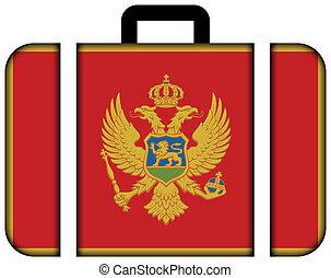 pojęcie, przewóz, podróż, montenegro., bandera, walizka, ikona