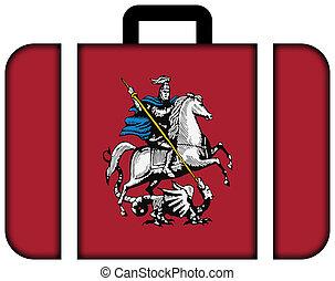 pojęcie, przewóz, podróż, moscow., bandera, walizka, ikona