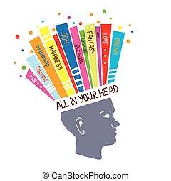 pojęcie, psychologia, myślenie, dodatni, ilustracja, emocje, optymistyczny