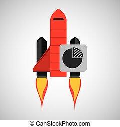 pojęcie, rakieta, handlowa strategia, plan, czerwony