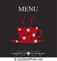 pojęcie, restauracyjny jadłospis, list miłosny, ilustracja, day., wektor