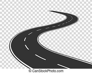 pojęcie, road., asfalt, odizolowany, highway., meandrowy, podróż, handel, droga, horyzont, perspective., łukowata lina, opróżniać