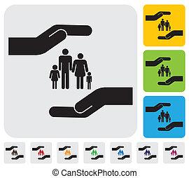 pojęcie, rodzina, prosty, graphic., syn, broniąc, ubezpieczenie, children)-, &, osobisty, zdrowie, macierz, bezpieczeństwo, wyobrażenia, ilustracja, ręka, ojciec, córka, to, etc, wektor, family(parents