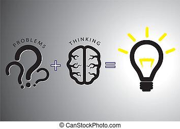 pojęcie, rozwiązywanie, -, rozłączenie, to, mózg, używając, problem
