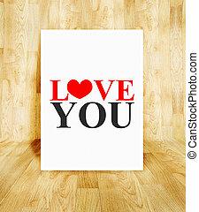 pojęcie, słowo, afisz, pokój, valentine, drewno, parkiet, miłość, biały, ty