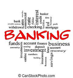 pojęcie, słowo, &, bankowość, czarny czerwony, chmura