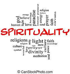 pojęcie, słowo, &, duchowość, czarny czerwony, chmura