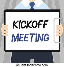 pojęcie, słowo, handlowy, tekst, dyskusja, kickoff, pisanie, projekt, meeting., zwinięty, szczególny, legalnoś
