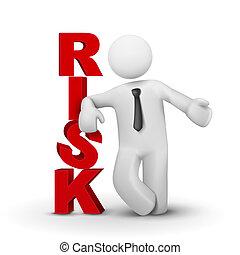 pojęcie, słowo, ryzyko, przedstawiając, biznesmen, 3d