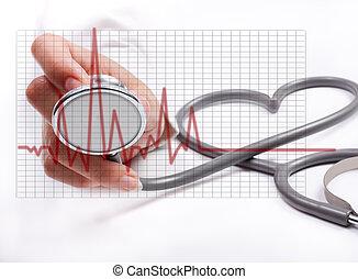 pojęcie, samica, stethoscope;, ręka, zdrowie, dzierżawa, troska