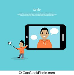 pojęcie, selfie, wektor, ilustracja