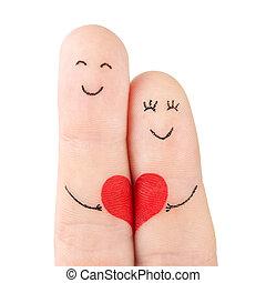 pojęcie, serce, rodzina, barwiony, -, palce, odizolowany, kobieta, tło, biały, utrzymywać, czerwony, człowiek