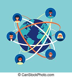 pojęcie, sieć, ludzie, globalny, internet, drużyna, towarzyski