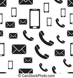 pojęcie, smartphone, handlowe zakomunikowanie, telefon, pattern., seamless, pictogram., tło., wektor, ilustracja, biały, poczta