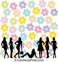 pojęcie, sprzedaż, sylwetka, fason, czarnoskóry, kobiety