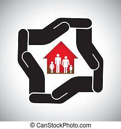 pojęcie, stan, dom, dom ubezpieczenie, rodzina, &, osobisty, również, zdrowie, cenny nabytek, vector., bezpieczeństwo, dyle, prawdziwy, handlowy, sejf, ochrona, wyobrażenia, graficzny, ochrona, etc, albo