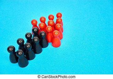 pojęcie, stoi, symbolyzed, copyspace., górny, szczęśliwie, -, razem, handlowy, arrow., teamwork, drużyna, rosnąco