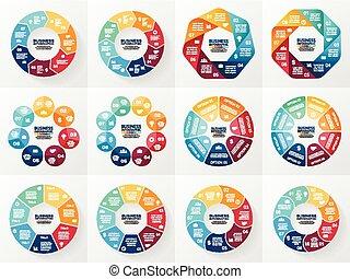 pojęcie, strony, abstrakcyjny, processes., set., wykres, tło., 7, infographics, 8, prezentacja, szablony, handlowy, opcje, zbiór, cykl, diagram, okrągły, chart., wektor, kroki, albo
