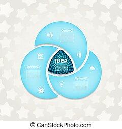pojęcie, strony, znak, logo, processes., wykres, 3, szablon, infographics, koło, prezentacja, trójkąt, handlowy, opcje, cykl, diagram, infographic., strzały, okrągły, chart., wektor, kroki, albo