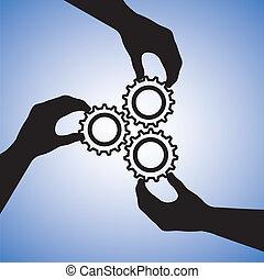 pojęcie, success., powodzenie, ludzie, współpraca, drużyna, kooperując, ilustracja, zawiera, sylwetka, graficzny, teamwork, razem, dzierżawa wręcza, ręka, koła zębate, wskazywanie, łączący