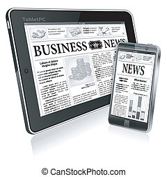 pojęcie, tabliczka, handlowy, ekran, pc, wektor, cyfrowy, gazeta, nowość, smartphone