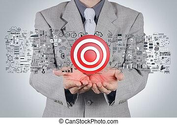 pojęcie, tarcza, handlowa strategia, ręka, biznesmen, znak, 3d