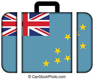 pojęcie, tuvalu., podróż, bandera, walizka, ikona, przewóz