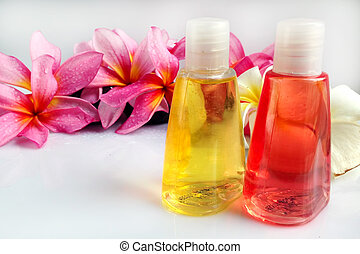 pojęcie, &, wellness, tropikalny, aromatherapy, kwiat, plumeria, zdrój