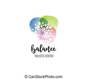 pojęcie, wellness, yoga, -, akwarela, medycyna, wektor, ikona, logo, alternatywa, rozmyślanie, zen