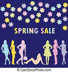 pojęcie, wiosna, sprzedaż, sylwetka, fason, kobiety