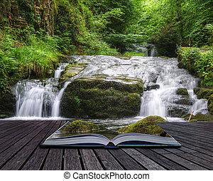 pojęcie, wizerunek, fałdzisty, magiczny, wodospad, twórczy, książka, las, nadchodzący, urządzenia wzywające do telefonu, poza