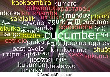 pojęcie, wordcloud, jarzący się, ogórek, tło, multilanguage