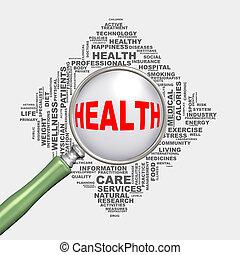 pojęcie, wordcloud, zdrowie, healthcare, szkło powiększające, 3d