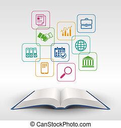 pojęcie, wykształcenie, książka, handlowy