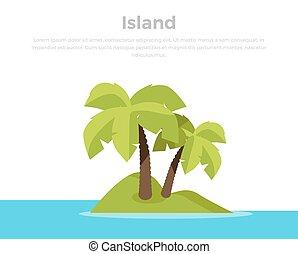 pojęcie, wyspa, ilustracja, wektor, zwrotnik, chorągiew