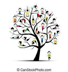 pojęcie, yoga, praktyka, drzewo, projektować, twój