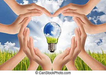 pojęcie, zbawczy, lekki, energia, globalny, planeta, jasny, zielony, rozłączenia, siła robocza, bulwa, krajobraz