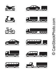 pojazd, droga, ikony