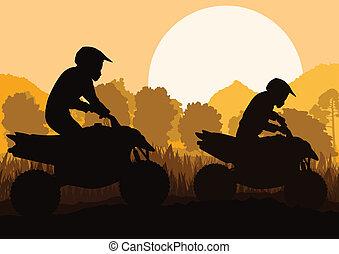 pojazd, jeździec, tło, teren, quad, wektor, motorower, wszystko