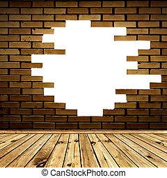 pokój, ściana, cegła, złamany