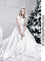 pokój, królowa, śnieg, lód, biały strój