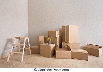 pokój, krok-drabina, kabiny, stos, nowy, tektura, opróżniać