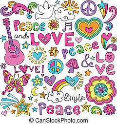 pokój, miłość, ciasny, muzyka, doodles