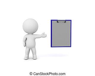 pokaz, clipboard, litera, 3d