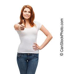 pokaz, do góry, t-shirt, kciuki, biały, nastolatek