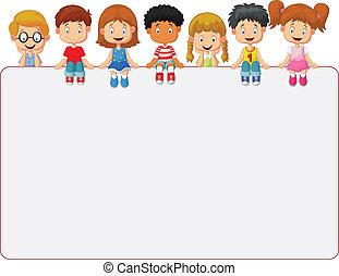 pokaz, dzieciaki, grupa, uśmiechnięty szczęśliwy